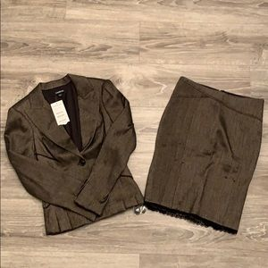 Bebe Brown Two Piece Skirt Suit.
